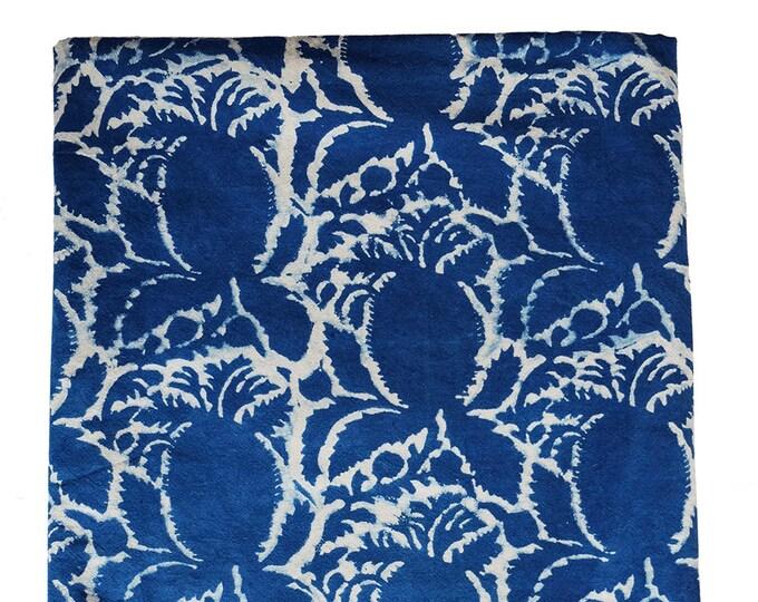 Queen Bedspread - Pineapple Indigo  - Hand Block Printed