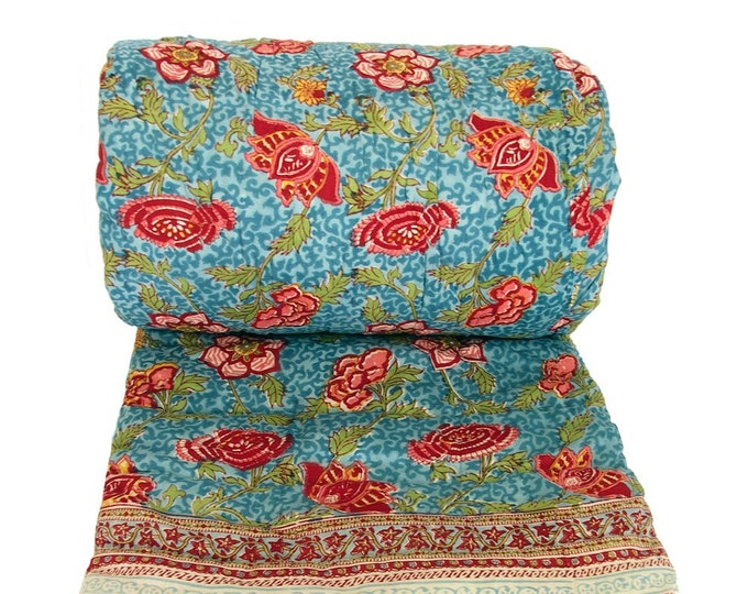 MANCHU TURQUOISE - Twin 70 x 108 - 100% cotton, reversible quilt.