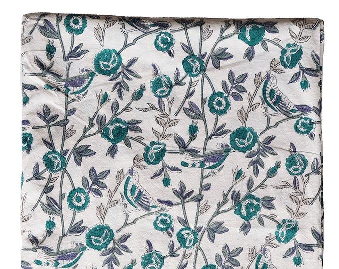 Queen Bedspread - Cuckoo Vine - Hand Block Printed