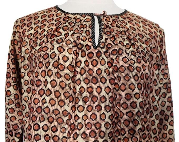 Hand block printed smock top - Cheetah