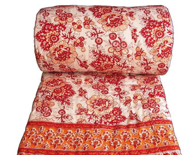 Red saflower Quilt - Queen 90 x 108 - 100% cotton, reversible.