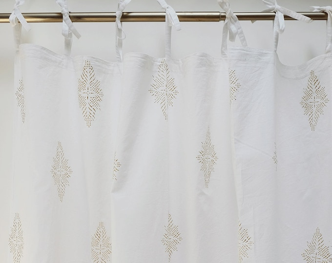 """Hand block printed curtain - White and gold - 47""""w x 92"""" l"""