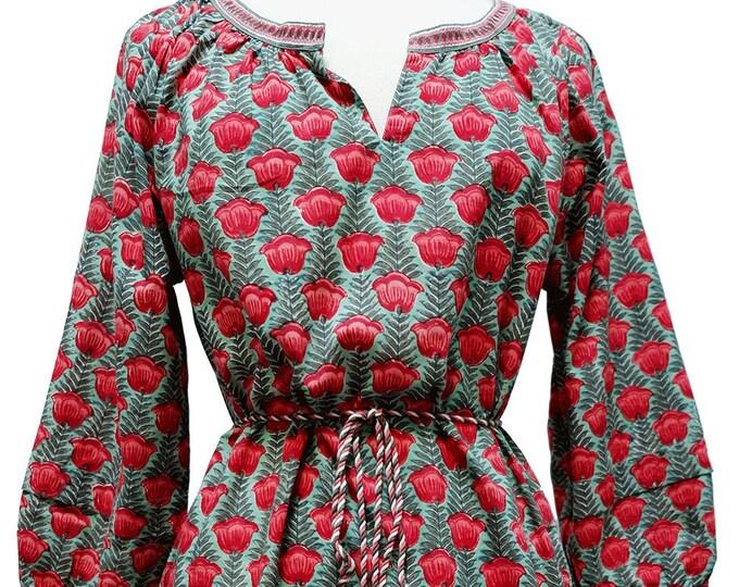 Smock Dress - Wood Block Printed, Poppy Stripe
