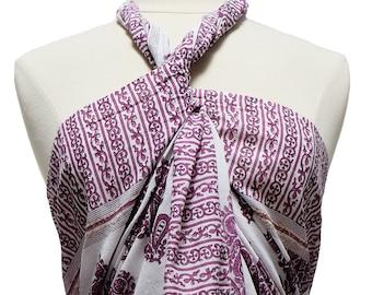 Hand Block Printed Sarong - Paisley Tree - Cotton