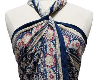 Hand Block Printed Sarong - Flower paisley - Cotton