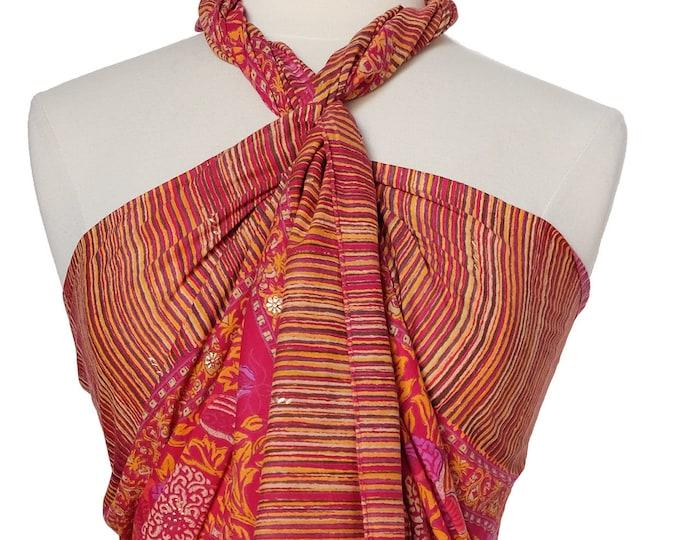 Hand Block Printed Sarong - Poppy Pink