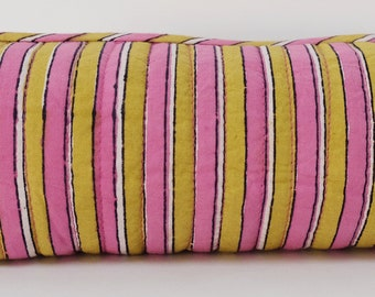 "Hand Block Printed Make up Bag - Madras Stripe pink - 8""L x 2.5H"