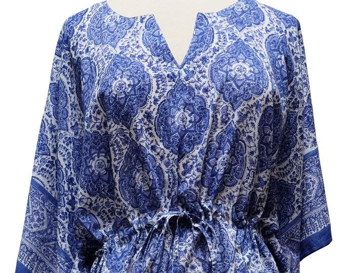 Long Kaftan - Victorian Garden Blue - free size