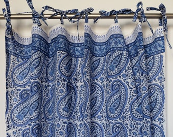 "Hand block printed curtain - pippa paisley blue - cotton - 47""w x 92"" l"