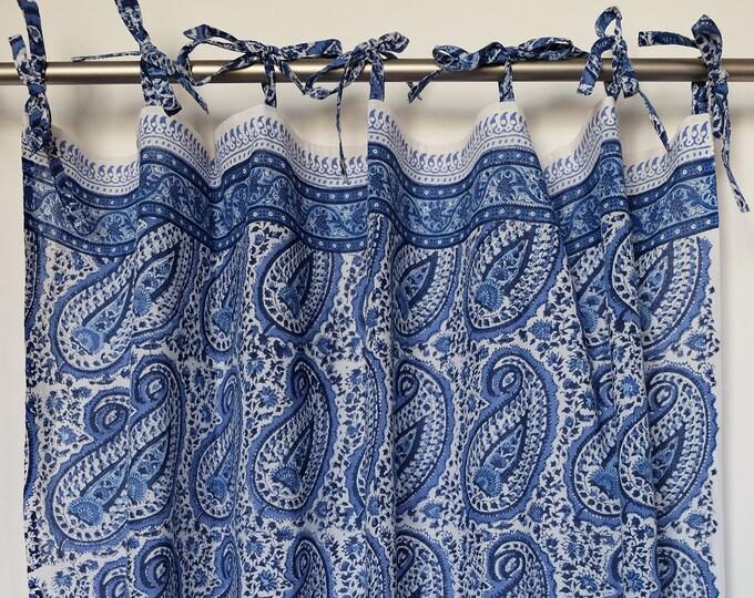 "Hand block printed curtain - pippa paisley blue - cotton - 47""w x 92"" l"