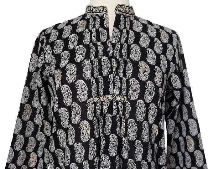 Hand block printed smock top - Paisley Black