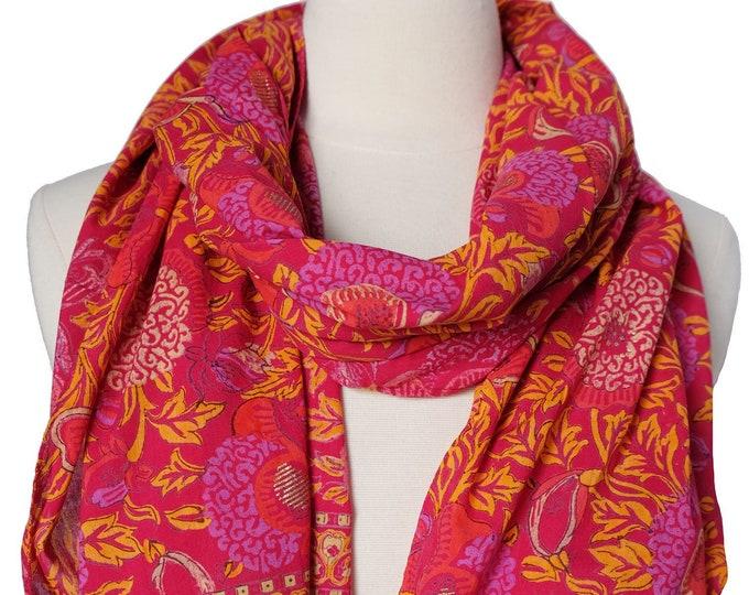 "Hand Block Printed Scarf - Bali Flower Pink - 22"" x 70"" - 100% cotton"