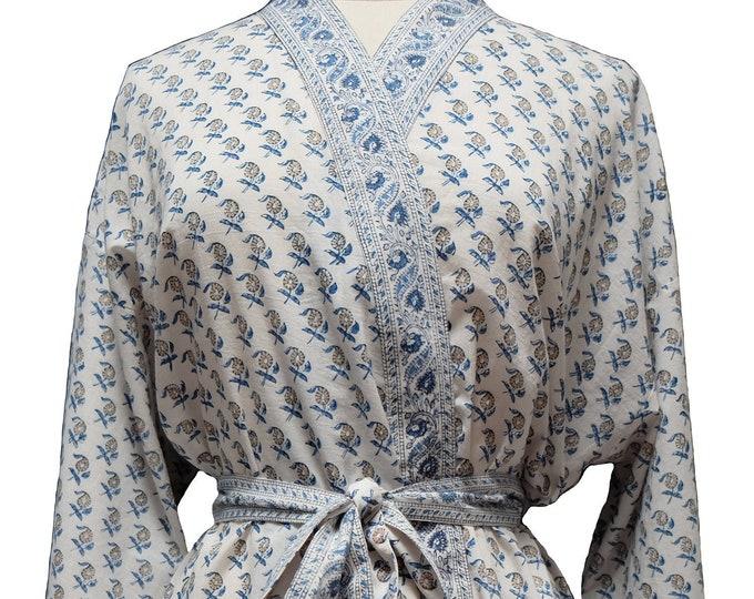 Short Robe - Mango Booti White - free size