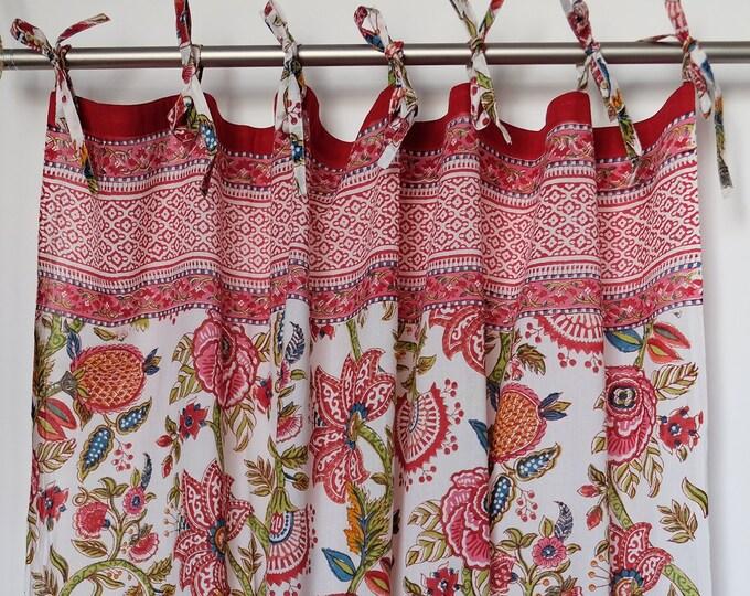 "Hand block printed curtain - palangposh blue - cotton - 47""w x 92""l"