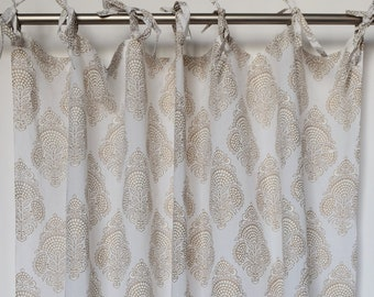 "Hand block printed curtain - white and gold flower - cotton - 47""w x 92"" l"