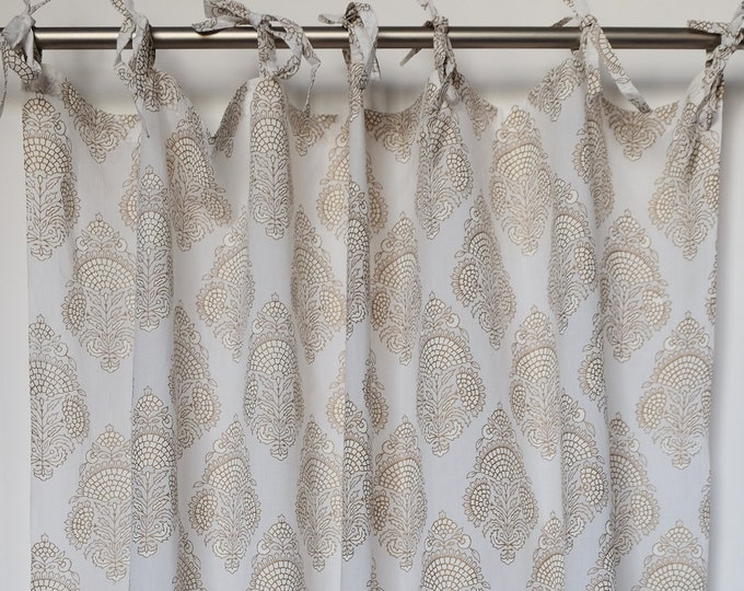 """Hand block printed curtain - white and gold flower - cotton - 47""""w x 92"""" l"""