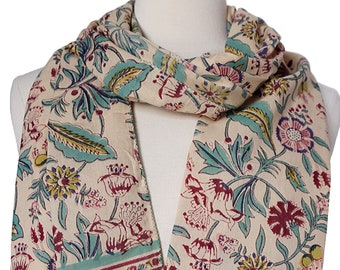 "Hand Block Printed Scarf - Sweet William - 15"" x 72"" - 100% cotton"