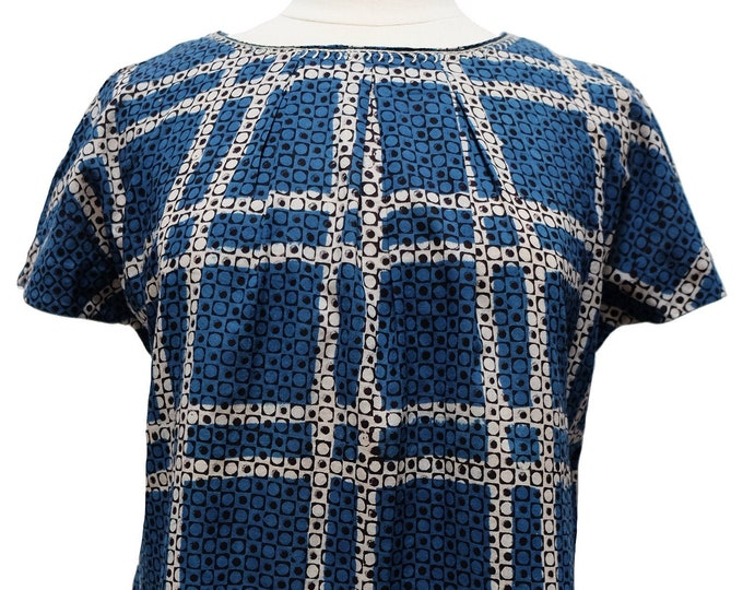 Short sleeved summer top - Indigo Check