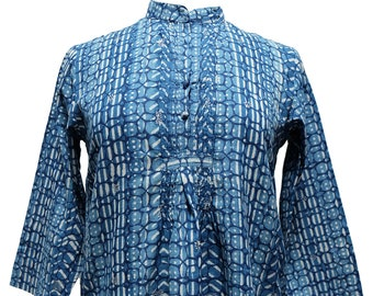 Hand block printed smock top - Dhabu