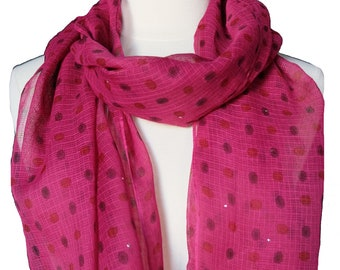 "Hand Block Printed Scarf - Pink Spot - 22"" x 72"" - cotton/silk"