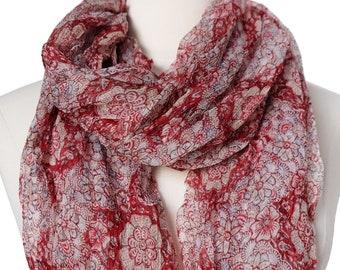"""Hand Block Printed Crinkly Chiffon Scarf - Emmalina Red - 21"""" x 74"""""""