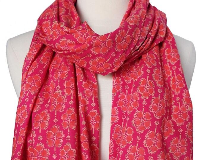 "Hand Block Printed Scarf - Bali Flower Pink - 22"" x 72"" - 100% cotton"