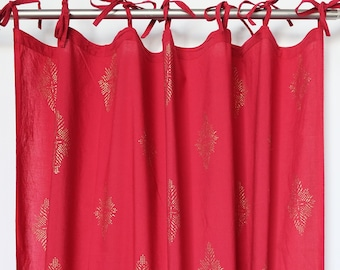 "Hand block printed curtain - red and gold print - cotton - 47""w x 92"" l"