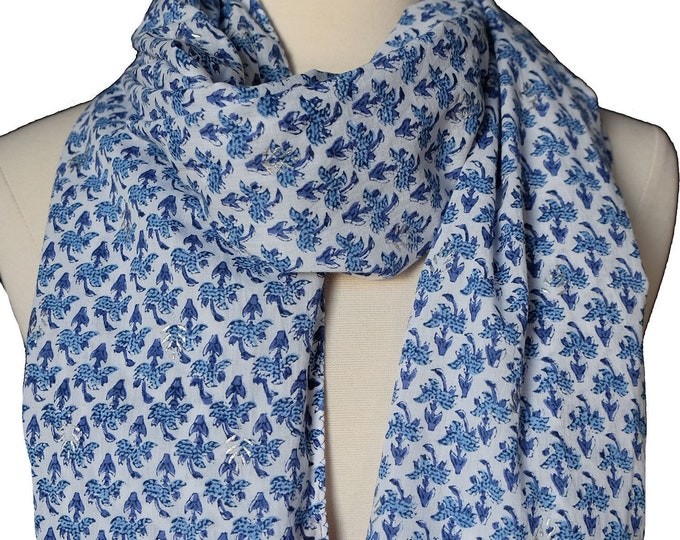 "Hand Block Printed Scarf - Booti Blue - 18"" x 72"" - 100% cotton"
