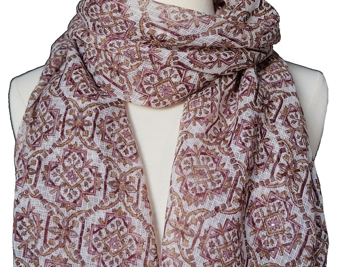 "Hand Block Printed Scarf - Jagat White - 22"" x 72"" - cotton/silk"