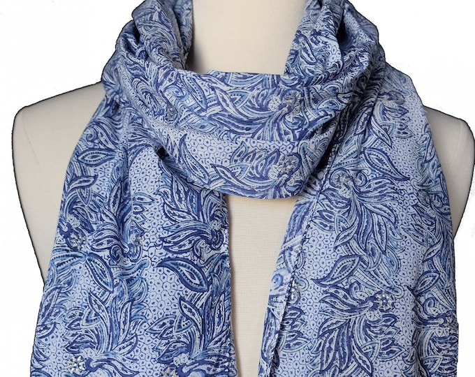 "Hand Block Printed Scarf - Viola Blue - 18"" x 72"" - 100% cotton"