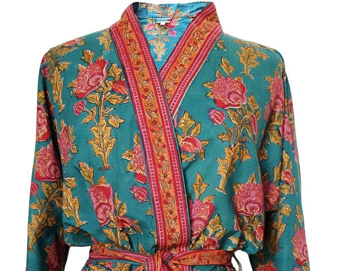 Short Kimono Robe - Poppy - free size - 100% Cotton