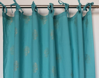 "Hand block printed curtain - turquoise and gold print - cotton - 47""w x 92"" l"