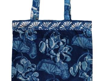 Organic cotton tote bag - Lotus Indigo