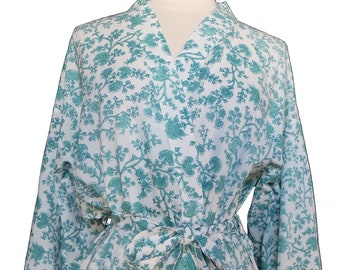 Short cotton  Kimono Robe - Kashan Flower Aqua - knee length - free size