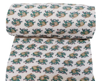 "Mini Reversible Quilt - Elephant emerald - 45"" x 56"""