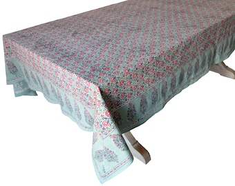 "Hand Block Printed Tablecloth  - Daisy Sage - 108"" x 70"""