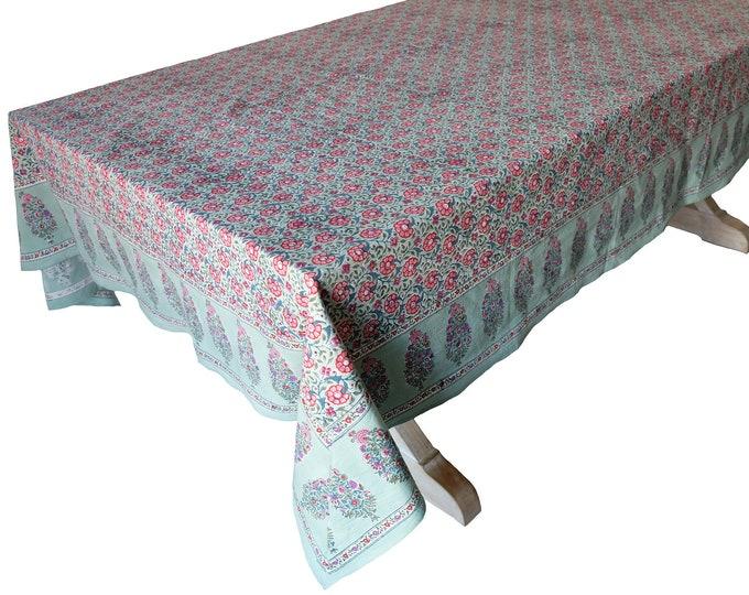 "Hand Block Printed Tablecloth  - Daisy Sage - 108"" x 70"""