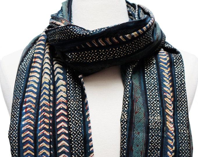 "Hand Block Printed Scarf - Bagru stripe - 22"" x 72"" - 100% cotton"