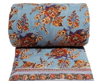 Cotton printed twin size quilt  70 x 108 - Skyflower Blue - 100% cotton, reversible quilt.