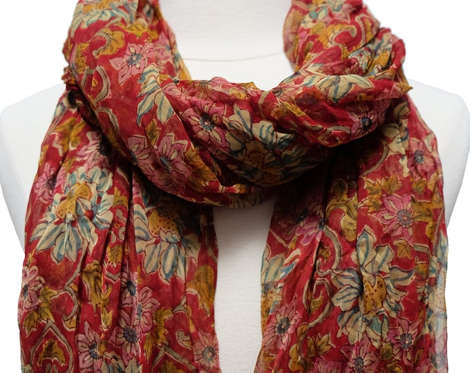 """Hand Block Printed Crinkly Chiffon Scarf - Sunflower Rouge - 21"""" x 74"""""""