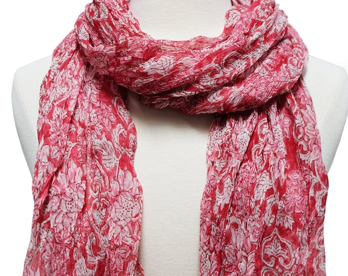 """Hand Block Printed Crinkly Chiffon Scarf - Sunflower Red - 21"""" x 74"""""""
