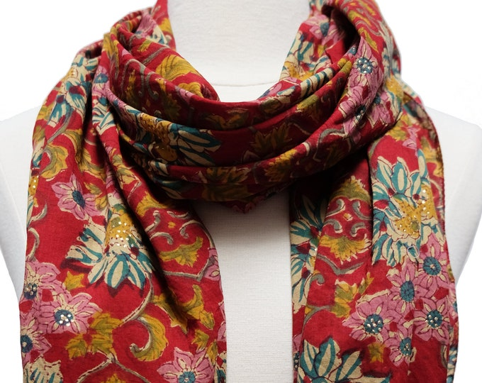 """Hand Block Printed Scarf - Sunflower Red - 22"""" x 72"""" - 100% cotton"""