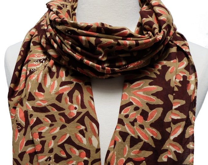 """Hand Block Printed Scarf - Leaves - 22"""" x 72"""" - 100% cotton"""