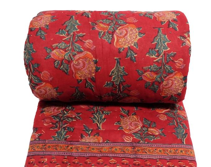 Cotton printed twin size quilt  70 x 108 - 100% cotton, reversible quilt.