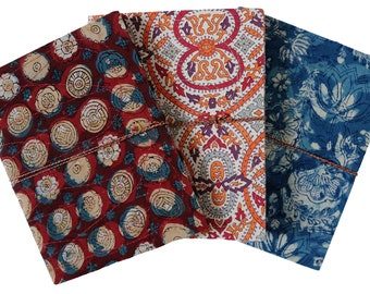 """Cloth covered note books, set of 3 - Large size 8.5"""" x 6.5"""""""