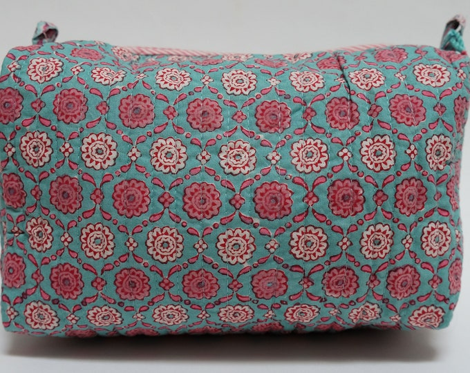 "Hand Block Printed Toiletries Bag - Snowflake Indigo - Large 10""L x 8""H x 6""D"