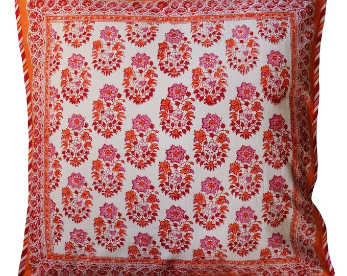 "Reversible Cotton Pillow Cover - Marigold Booti - Square 18"" x 18"""