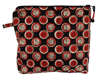 "Printed Cotton Makeup Bag - Manchu Spot - Small 6""W x 6""H"
