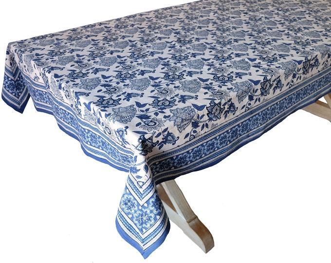 "Hand Block Printed Tablecloth  - Kyoto Blue - 60"" x 90"""
