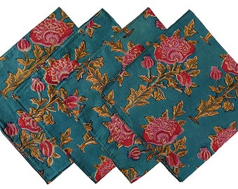 Napkins set of 4, Teal Poppy